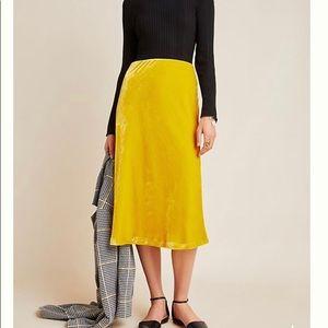 NWOT Anthropologie yellow velvet skirt